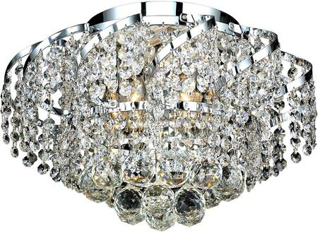VECA1F16C/SS Belenus Collection Flush Mount D:16In H:10In Lt:6 Chrome Finish (Swarovski   Elements