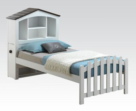 Docila Collection 30215F Full Size Bed with Bookcase Storage Headboard and Slat Design Footboard in White and Chocolate