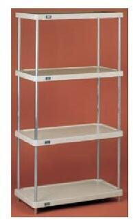 24487NSP 48 inch  Starter Shelving Unit with 4 Polymer Tan Shelves  and Nexelon Blue Metallic Epoxy Finish with Nexgard Anti-Microbial