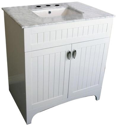 7615-WH-WH 32 inch  Single Sink Vanity in White with Marble Top in