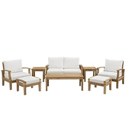Marina Collection EEI-1471-NAT-WHI-SET 8-Piece Outdoor Patio Teak Sofa Set with Coffee Table  Sofa  2 Armchairs  2 Ottomans and 2 Side Tables in Natural and