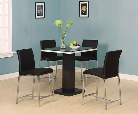 Norwin 71310T4C 5 PC Bar Table Set with Counter Height Table + 4 Chairs in Black and Chrome