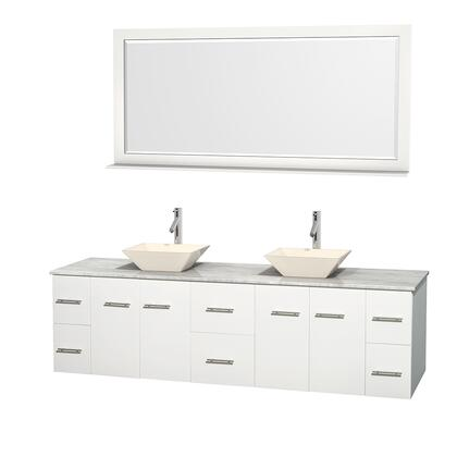 Wcvw00980dwhcmd2bm70 80 In. Double Bathroom Vanity In White  White Carrera Marble Countertop  Pyra Bone Porcelain Sinks  And 70 In.