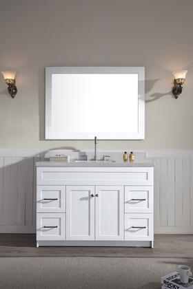 F049SWQWHT Ariel Hamlet 49 inch  Single Sink Vanity Set with White Quartz  Two Doors and Four Drawers in