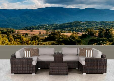 SUN-4010 Lucia 8 Piece Sectional Set in