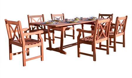 V232SET16 7-Piece Outdoor Eucalyptus Dining Set with Rectangular