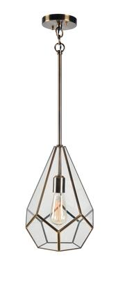 Gemma 93891BAM 1-Light Pendant Ceiling Light with 1- Medium Base Socket  60 Watt Maximum Each in Clear Glass with Burnished Antique Metal
