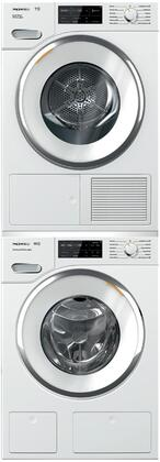 White Stacked Front Load Laundry Pair with WWH660WCS 24 inch  Front Load Washer  TWI180WP 24 inch  Electric Dryer