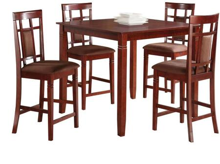 Sonata Collection 71200 5 PC Counter Height Dining Set with Chocolate Microfiber Upholstered Chairs  Tapered Legs and Birch Veneer Materials in Cherry