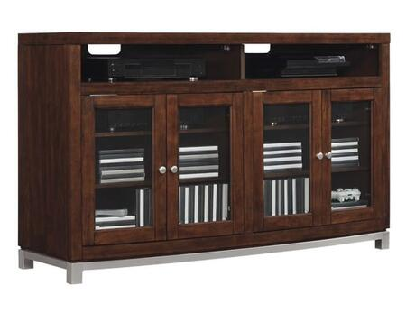TC60-6449-C247 Wesleyan Media Unit with Side Storage Cabinets  Adjustable Shelves  Magnetic Removable Back Panels and Tempered Beveled Glass Doors in Meridian