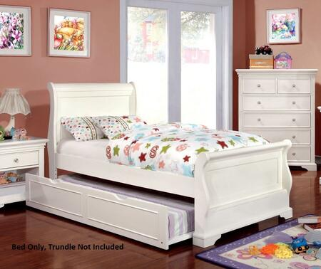 Mullan Collection CM7944WH-T-BED Twin Size Sleigh Bed with Soft Curved Design  Slat Kit Included  Solid Wood and Wood Veneers Construction in Off-White