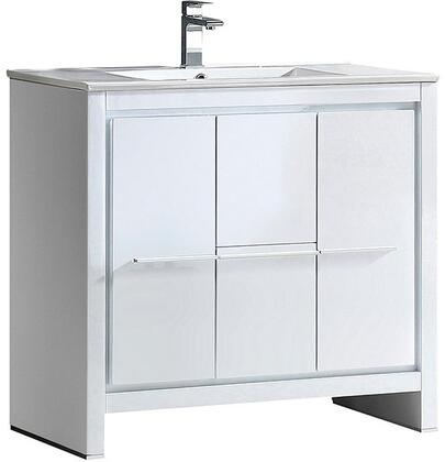 Allier FCB8136WH-I 36 inch  Single Sink Vanity with 2 Soft Closing Doors  2 Soft Closing Drawers and Integrated Sink in