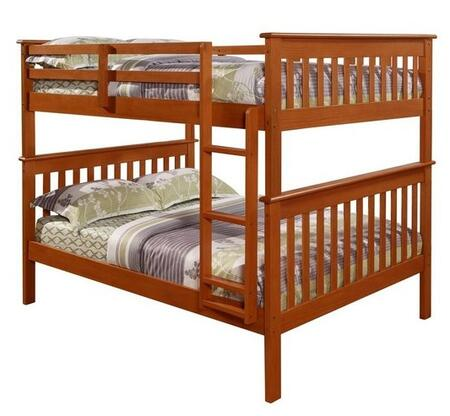 123-3CP Full Over Full Mission Bunk Bed with Molding Details  Built in Ladder  Slat Headboards and Footboards in