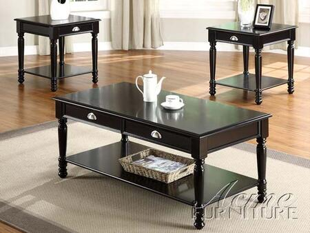 18464 Lukas Black 3 PC Coffee and End Table Set With 1 48