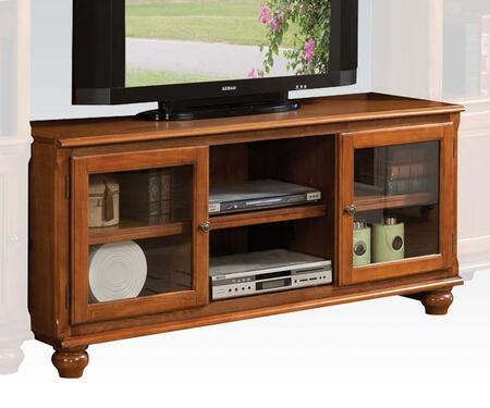 Dita Collection 91098 58 inch  TV Stand with Framed Glass Doors  Bun Feet and Adjustable Shelf in Light