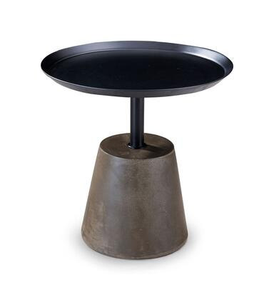 ST1457BLK Viviana Round Side Table  Metal Plate And Stand Column Lacquered In Black Color  Cement Base Lacquered In
