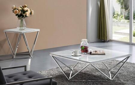 Skyler Collection 244CE 2 PC Living Room Table Set with Coffee Table + End Table in Chrome