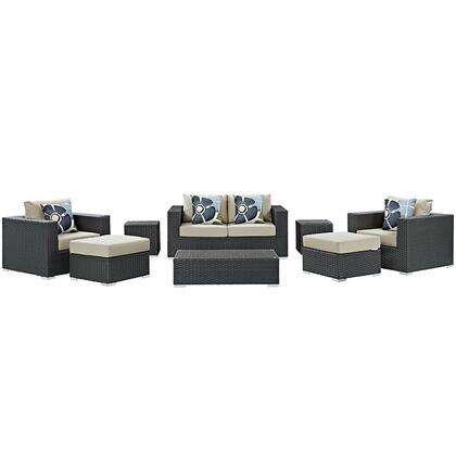 Sojourn Collection EEI-2376-CHC-BEI-SET 8-Piece Outdoor Patio Sunbrella Sectional Set with Coffee Table  Loveseat  2 Armchairs  2 Ottomans and 2 Side Tables in