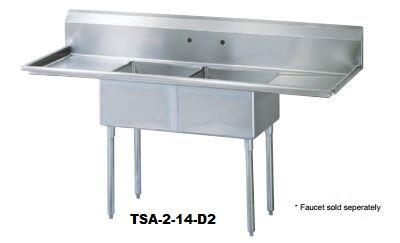 TSA-2-14-D2 Drain Board 84 inch W Two Compartment Sink with Swirl Away Bowl Drainage  Two Drain Boards and Adjustable ABS Bullet Feet in Stainless