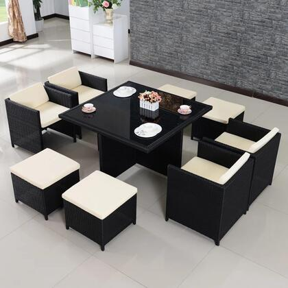 FQ-902-B 9-Piece Patio Dining Set with Dining Table  4 Chairs and 4 Ottomans in