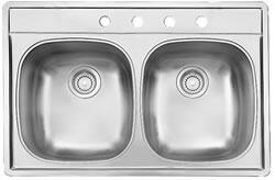 D2233/85K/1 33 inch  Top Mount Double Bowl Stainless Steel Sink  20 Gauge  1 Faucet