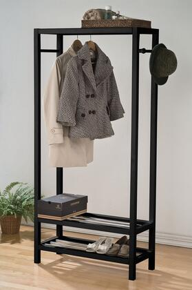 Maeve Collection 98101 31 inch  Garment Rack with 2 Shelves  15mm Iron Rail  Hanging Rods  Solid Pine Wood Construction and Slat Design Shelves in Black