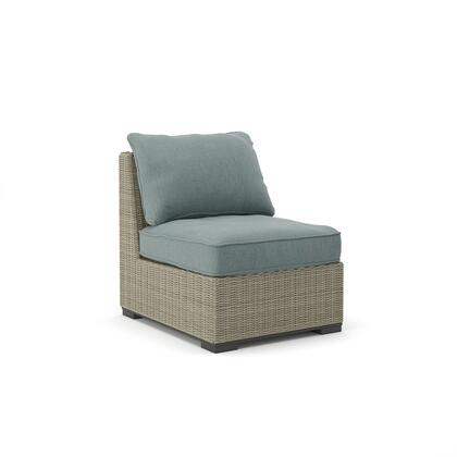 Silent Brook Collection P443-846 26 inch  Armless Outdoor Chair with Removable Cushion  Nuvella Fabric  Resin Wicker and Rust-Proof Aluminum Construction in