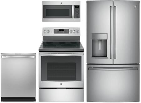 4-Piece Stainless Steel Kitchen Package with GFD28GSLSS 36 French Door Refrigerator  JB750SJSS 30 Freestanding Electric Range  JVM7195SKSS 30 Over
