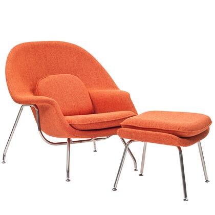 "Womb Collection EEI-113-ORT 38"" Lounge Chair with Ottoman Included  Stainless Steel Frame  Foam Padding and Fabric Upholstery in Orange Tweed"