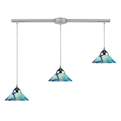 1477/3L-CAR 3 Light Pendant in Polished Chrome and Carribean
