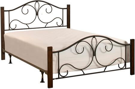 Destin Collection 2220BFRC Full Size Bed with Headboard  Footboard  Rails  Open-Frame Panel Design  Decorative Metal Scrollwork and Solid Wood Posts in Brushed