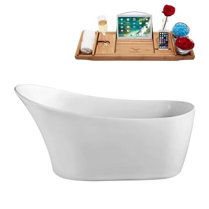 N82059FSWHFM 59 inch  Soaking Freestanding Tub with Internal Drain  Chrome Color Drain Assembly  125 Gallons Water Capacity  and Acrylic/Fiberglass Construction  in