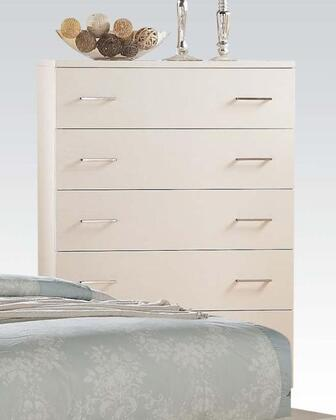 London Collection 21066 38 inch  Chest with 5 Drawers  Nickel Hardware  Center Metal Glide Drawer  Pine Solid Wood and Ash Veneer Materials in White