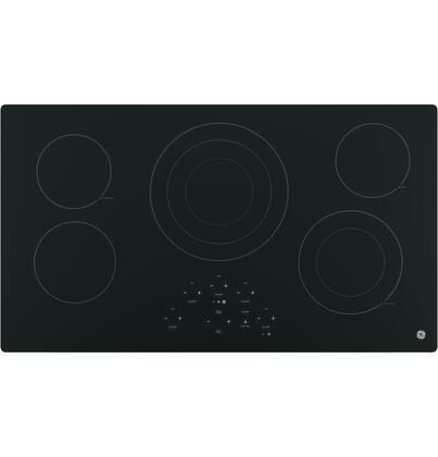 """GE 36"""" Built-In Electric Cooktop Black-on-Black JP5036DJBB"""