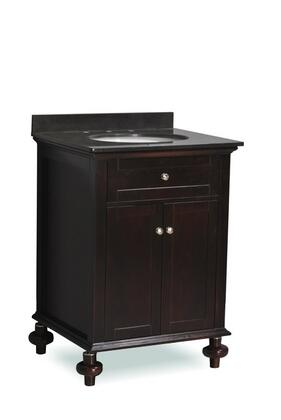 ST14-24-ESP 24 inch  Belmont Decor Huntington single sink bathroom  vanity with Granite Top  Turned Legs  and Simple Pulls in