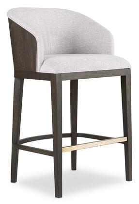 Curata Collection 1600-20860-DKW Upholstered Bar Stool with Stretchers  Piped Stitching and Fabric Upholstery in Light Fabric and Dark Wood