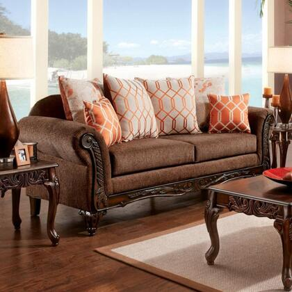 Bechet Collection Sm7625-sf 90 Sofa With Rolled Arms  Intricate Carving And Fabric Upholstery In