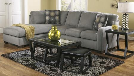 702006716SET Zella 5-Piece Living Room Set with Left Chaise Sectional Sofa  Cocktail Table with 2 Ottomans and End Table in