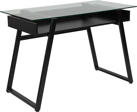 Huntley Collection NAN-JN-2410-GG 39 inch  Desk with 8mm Clear Tempered Glass Top  Angled Legs  Open Storage Shelf and Powder Coated Frame in Black