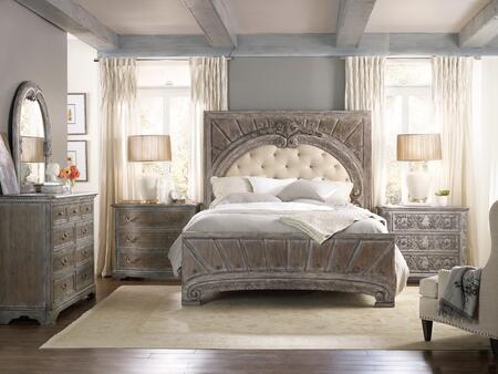 5701-KUBBCCD 4-Piece True Vintage Collection Bedroom Set with King Size Leather Upholstered Bed + Bachelors Chest + Drawer Chest + Dresser  in