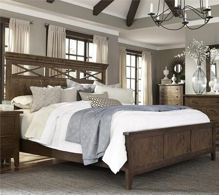Hearthstone Collection 382-BR-KPB King Panel Bed with Tapered Feet  Center Supported Slat System and Molding Details in Rustic Oak