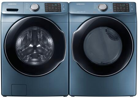 """Azure Front Load Laundry Pair with WF45M5500AZ 27"""""""" Washer  DVG45M5500Z 27"""""""" Gas Dryer and 2 WE357A0Z"""" 770261"""