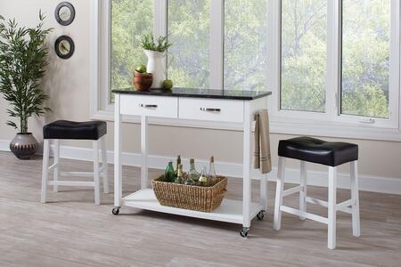 102134 3-Piece Counter Height Table Set with 2 Drawers  Towel Bar  Casters  Bottom Shelf and 2 Faux Leather Upholstered Stools in