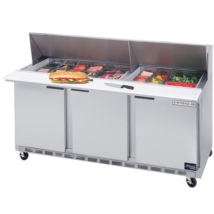 SPE72-30M 72 inch  Mega Top Three Door Refrigerated Salad and Sandwich Prep Table with Self-Closing Doors  Removable Hood and Insulated Lid  Unit Accommodation up