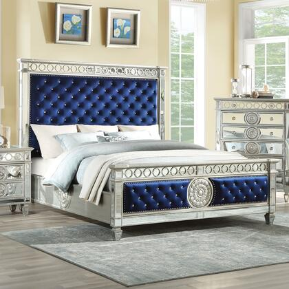 Varian Collection 26147EK King Size Bed with Velvet Crystal Tufted Headboard  Low Profile Footboard  Raised Geometric Trim  Sunburst Motifs  Poplar and Plywood