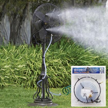 DBF0629 Outdoor Fan Misting Kit with Single Setting  Universal Fit  Connects To Standard Garden Hose. in Black