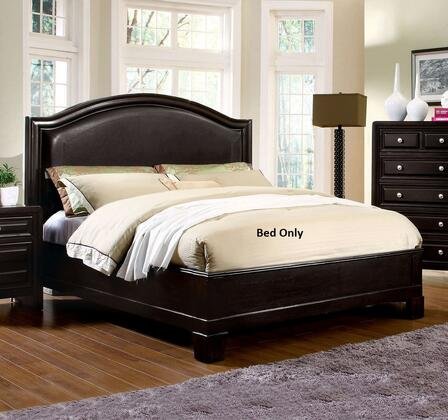 Winsor Collection CM7058Q-BED Queen Size Platform Bed with Slat Kit Included  Curved Leatherette Headboard  Solid Wood and Wood Veneer Construction in Espresso