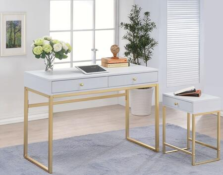 Coleen Collection 92312SET 2 PC Office Furniture with Desk + Side Table in White and Brass