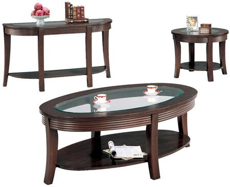 Simpson 5525CES 3 PC Living Room Table Set with Coffee Table + End Table + Sofa Table in Cappuccino
