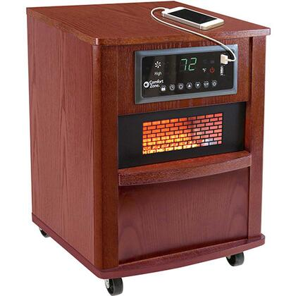 """CZ2062C 13"""" Infrared Heater with 5120 BTU. Digital Thermostat with Auto On/Off Timer Washable Air Filter Built-In USB Charger Ports Casters and Wood Case"""